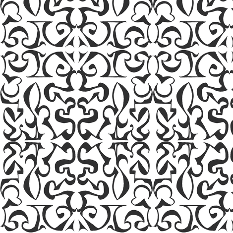 ARABESQUE Black and White fabric by shi_designs on Spoonflower - custom fabric
