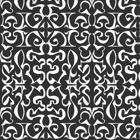 ARABESQUE White on Black fabric by shi_designs on Spoonflower - custom fabric