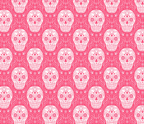 Calavera Sugar Skulls - pink fabric by hazel_fisher_creations on Spoonflower - custom fabric