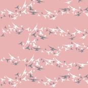 PINK AND GREY BIRDS IN FLIGHT
