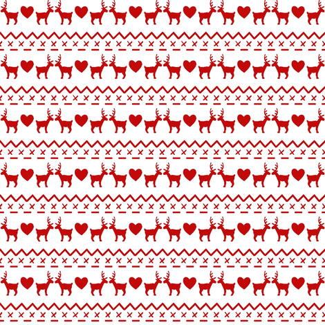Christmas With Love red on white fabric by hazel_fisher_creations on Spoonflower - custom fabric