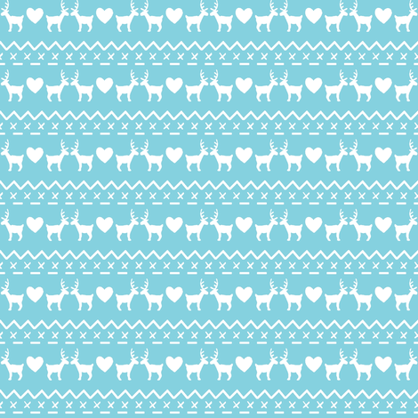 Christmas With Love white on blue fabric by hazel_fisher_creations on Spoonflower - custom fabric