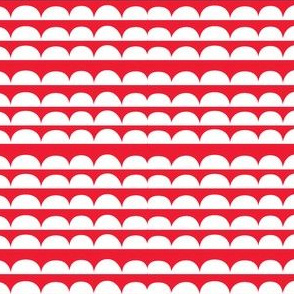 chicken stripes - red // scalloped edging in rows