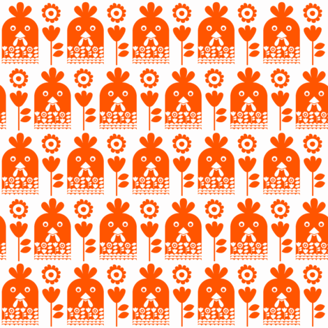 Happy chicken - ginger // chicken rooster faces with floral motifs in orange fabric by ruth_robson on Spoonflower - custom fabric