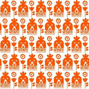 Happy chicken - ginger // chicken rooster faces with floral motifs in orange