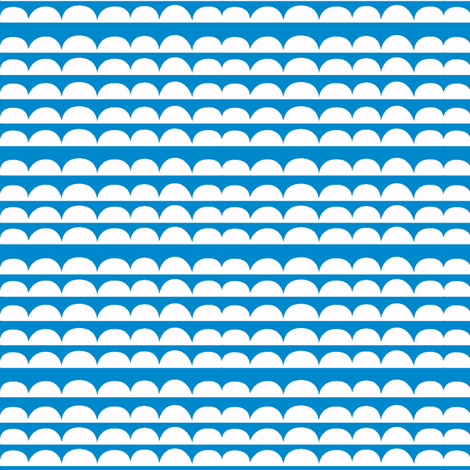 Chicken stripes - blue // scallops semi circles cloud edging co-ordinate fabric by ruth_robson on Spoonflower - custom fabric