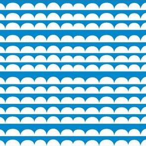 Chicken stripes - blue // scallops semi circles cloud edging co-ordinate