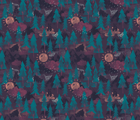 Forest Bear Mountain fabric by phirefly_print on Spoonflower - custom fabric