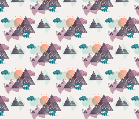 Watercolour Winter Forest Mountain Camp  fabric by phirefly_print on Spoonflower - custom fabric