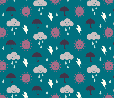 Happy Weather teal fabric by phirefly_print on Spoonflower - custom fabric