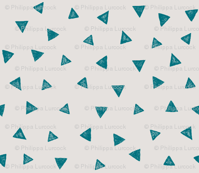 Watercolour Triangles Cloudy Teal