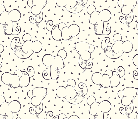 Winter Forest Inky Mouse fabric by phirefly_print on Spoonflower - custom fabric