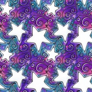 Project 96 | White Stars on Purple Pink Blue Watercolor