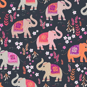 Elephants in the Flower Garden