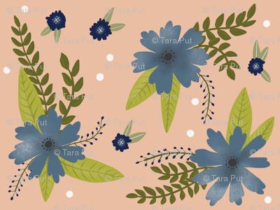 Blue Flowers on Peach