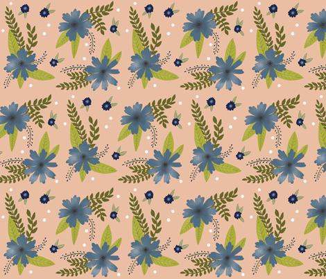 Blue Flowers on Peach fabric by taraput on Spoonflower - custom fabric