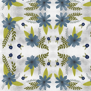 Blue Flowers on Grey and White Background