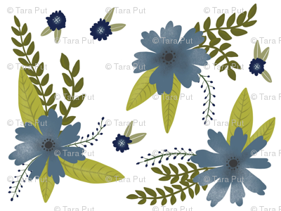 Blue Flowers - Smaller Scale