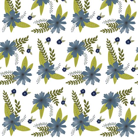 Blue Flowers - Smaller Scale fabric by taraput on Spoonflower - custom fabric