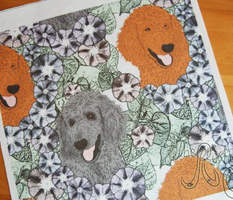 Floral Standard Poodle portraits B