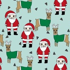 santa and reindeer // reindeer santa christmas fabric cute illustrated christmas fabric by andrea lauren andrea lauren design