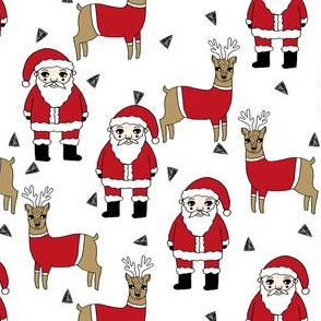 santa and reindeer // santa fabric cute holiday xmas holiday fabrics xmas andrea lauren fabric cute illustration xmas holiday
