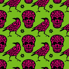 Skull Raven in Pink + Neon Green