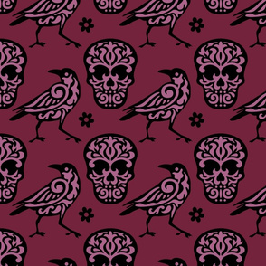 Skull Raven in Burgundy and Pink