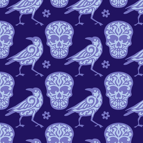 Skull Raven in Blue and Purple