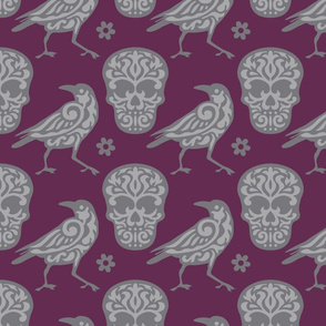 Skull Raven in Burgundy and Grays