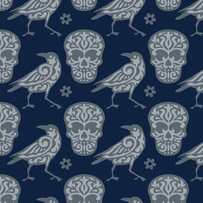 Skull Raven in Blue and Gray