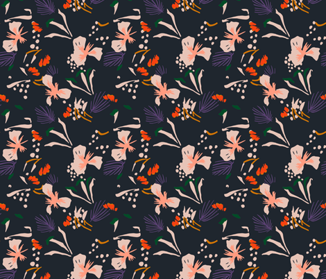 seville_garden_black fabric by holli_zollinger on Spoonflower - custom fabric