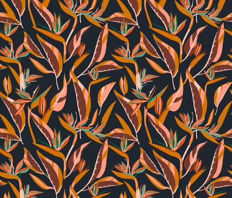 ANTHOLOGY_OF_PATTERN_ELLE_BIRD_OF_PARADISE_DARK fabric by holli_zollinger on Spoonflower - custom fabric
