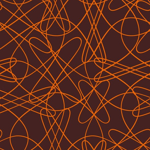 lines and loops - brown orange