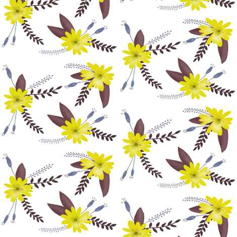 Yellow Flowers with Purple Leaves - Smaller Scale fabric by taraput on Spoonflower - custom fabric