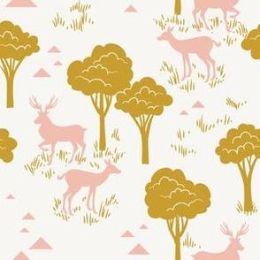 Baby Deer Trees_Pink