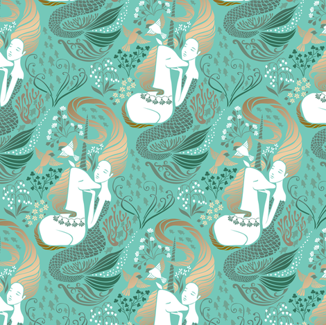 The Mermaid and the Unicorn - Adriatic - Medium Scale  fabric by ceciliamok on Spoonflower - custom fabric