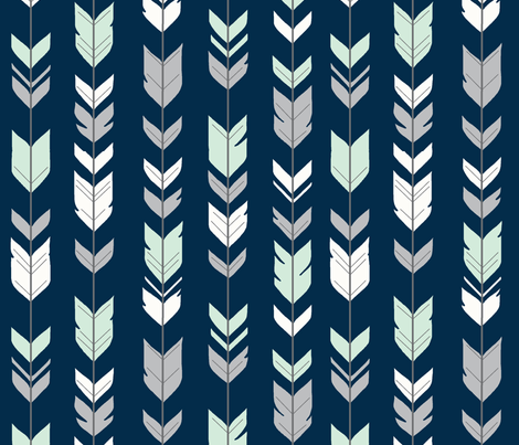 arrow Feathers- navy/mint/grey fabric by sugarpinedesign on Spoonflower - custom fabric
