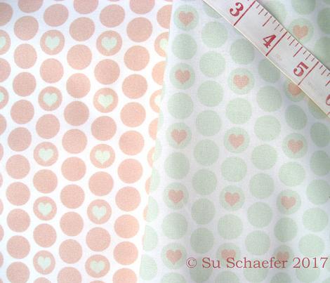 Cucumber + peach  heart polka dots by Su_G