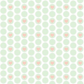 Cucumber + peach  heart polka dots by Su_G