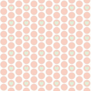 Peach + cucumber heart polka dots by Su_G