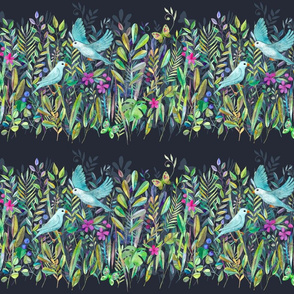 Little Garden Birds stripe format small