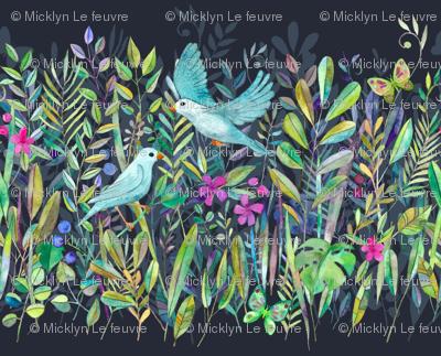 Little Garden Birds stripe format large