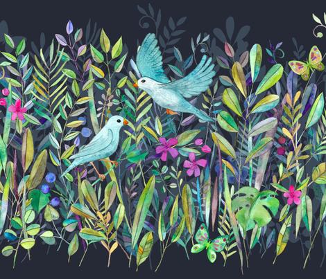 Little Garden Birds stripe format large fabric by micklyn on Spoonflower - custom fabric