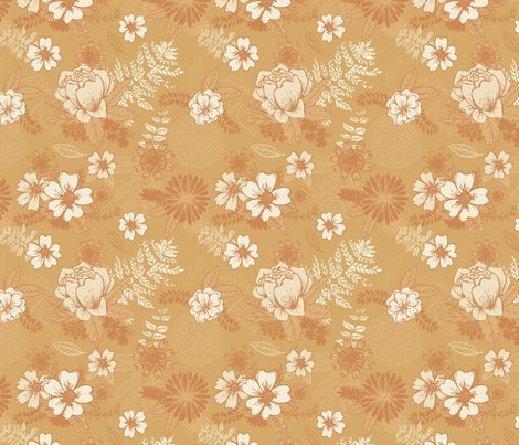 Mustard Floral fabric by katievaz on Spoonflower - custom fabric
