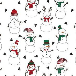 snowman // christmas white red and green holiday fabric cute snowmen illustration andrea lauren fabric christmas fabrics cute holiday designs