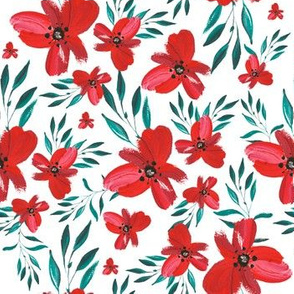 Celebration Deer Seamless Red Florals