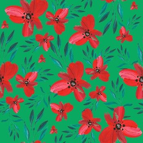 Celebration Deer Seamless Red Florals - Green