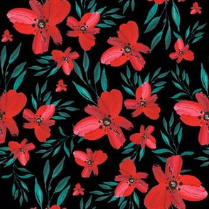 Celebration Deer Seamless Red Florals - Black