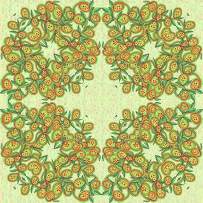 Christmas Red and Green Leaves and Fruit Wreath